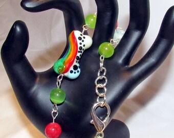 Dog Bone Pet Bracelet Rainbow Lampwork Dog Bone Bead Beach Glass Rounds OOAK Handmade Pet Lovers