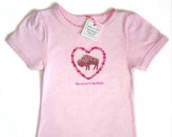 Cherry Blossom Buffalo Baby Bodysuit - Pink on Pink