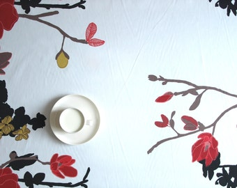 Tablecloth white red mustard yellow black flower tree Floral Table decor , also napkins , runner , pillow , curtains available, great GIFT