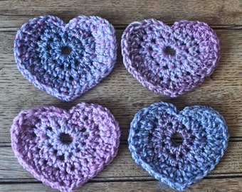 Four Heart Shaped Handmade Coasters | Crocheted | Crochet Gift | Home Decor | Stocking Filler | Purple | For Her | New Home | Valentines Day
