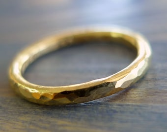 More Gold. 18K Gold Thick Unisex Hammered Band. Handmade Recycled Solid Gold Ring. Textured Unpolished Organic Rough Band.