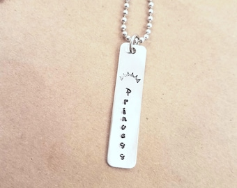 Princess Hand-stamped Necklace
