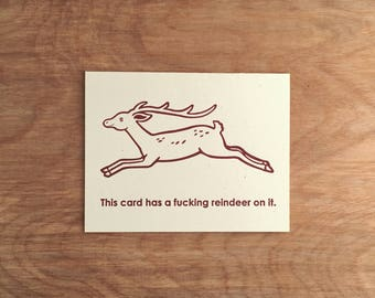 Reindeer. Funny Letterpress Christmas Card Holiday Greeting Card. Single or Boxed Set