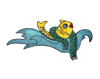 ID 0239 Smiling Fish Sweater Patch Waves Jump Fishing Iron On Badge Applique