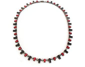 Art Deco Czech Glass Geometric Necklace - Red Black Glass, Paste Rhinestones, Marked Czechoslov, Art Deco Jewelry, Antique Necklace
