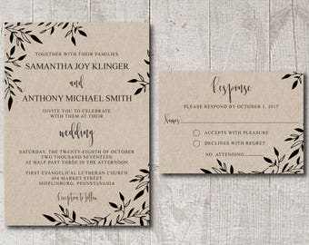 Rustic Wedding Invitation Template Printable, wedding invitation template rustic, diy wedding invitation, instant download wedding invite