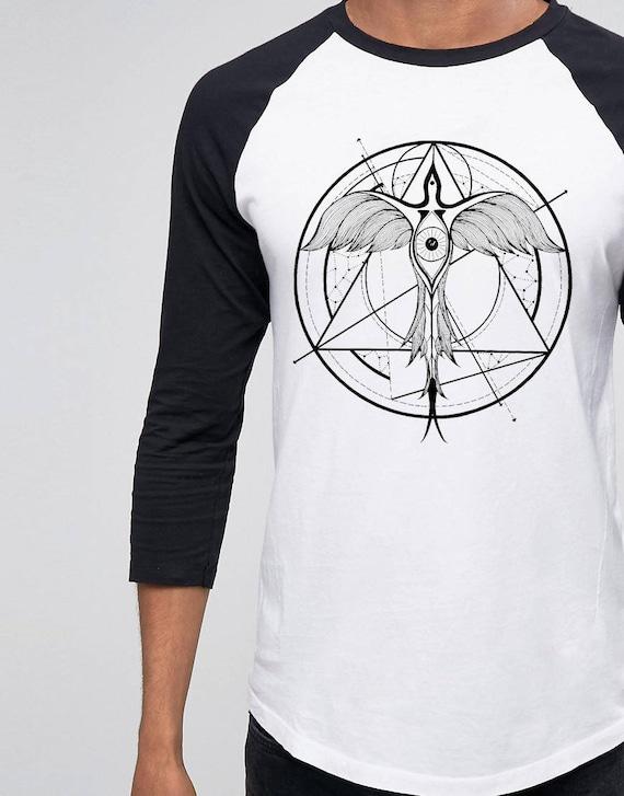 Phoenix ascending | Unisex Raglan T-Shirt | Geometrical drawing | Phoenix bird | Graphic shirt | Ink Tattoo style | Alchemy |ZuskaArt