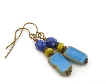 Periwinkle Blue Rectangle Glass Earrings - Cobalt - Short Petite Dangles - Yoga Earrings - Colorful Boho Jewelry