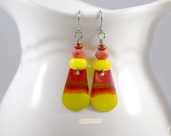 Handmade Earrings, Paint and Resin Earrings, Artisan Earrings, Boho Earrings, Silver Earrings, Yellow Orange Earrings, Candy Corn, AE054