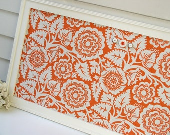 Magnet Board Organizer - Office Storage Bulletin Board - Framed Memo Magnet Board 17.5 x 33 with Tangerine Orange and White Floral Fabric