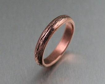 4mm Copper Bark Ring - - 7th Wedding Anniversary Gift