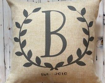 Farmhouse Pillow Monogram - Burlap Pillow - Rustic Country Decor - 16 x 16 Pillow- Fixer Upper - French Farmhouse Decor - Gift Under 25