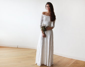 Ivory Wedding Gown Off-The-Shoulder Floral Lace Long Sleeve Maxi, Ivory Wedding Dress Floral Lace Long Sleeve 1119