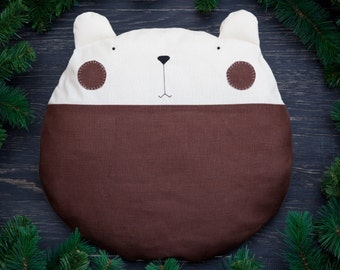 Brown Baby Pillow Gifts for Boys, Nursery Decor, Bear Pillow, Bedding Baby, Brown Round Floor Cushion, Decorative Pillow, Papa Bear Toy