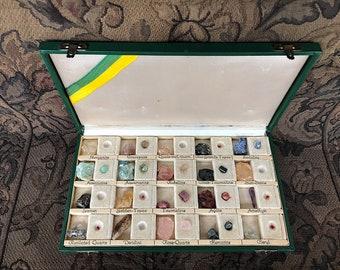 Semi Precious Gemstone Collection - Vintage Rock Mineral Collection - Semi Precious Stone Decor - Rock Specimens Collection Gemstone Display