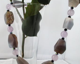 Huge Gray Agate Light Amethyst Sterling Silver Necklace