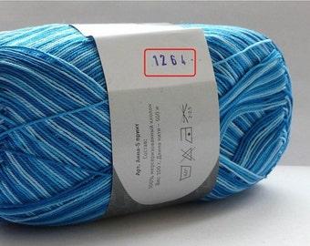 Crochet thread size 10, mercerized cotton, ANNA-S Print, 100g/ 492 yds #1264 variegated shaded blue