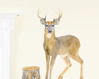 Nursery Deer Decor, Woodland Nursery, Stag Wall Decor, Deer Woodland Art, Woodland Deer Decor, Deer Wall Decal - PVC free, Fabric Wall Decal