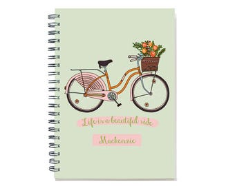 2018 Month Planner Notebook, 12 or 24 month, Personal Calendar Notebook, Custom Notebook & Monthly Calendar, Beautiful Ride, SKU: pn pbike