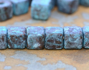 8 Green Patina 7mm Cube Square Greek Ceramic Beads