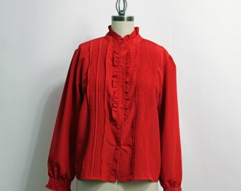 1980s red ruffle front blouse - pintucks and puffed sleeves - size medium