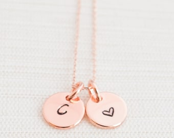 Rose Gold Initial & Heart Disc Necklace, Disc Necklace, Love jewelry, Initial Necklace, Personalised Jewellery, Rose Gold Plated Necklace