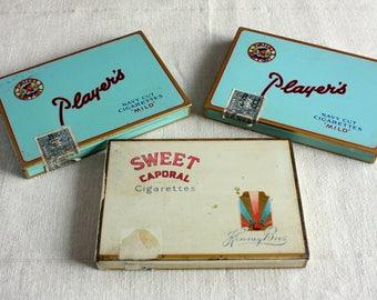 Lot of 3 Vintage Cigarette Flat 50 Tins - Player's Navy Cut Mild, Sweet Caporal