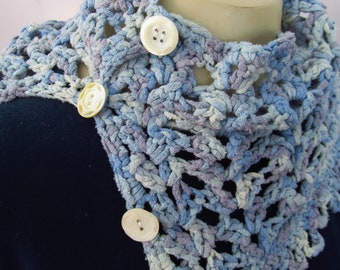 Crocheted Cowl in Blue Silk Yarn with Buttons
