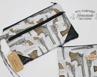 Remington Gun Fabric with Black Leather Accent - Double Zip Pouch - Clutch - phone purse
