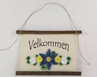 Velkommen, Danish Welcome, Paper Quilled Denmark Welcome Sign, 3D Quilled Banner, Blue Yellow White Decor, Denmark Gift, Danish Wall Art