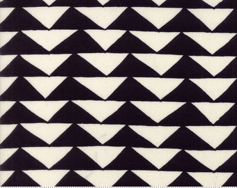 Black & Cream Triangle Fabric, Moda Thicket 48201 12 Black Natural by Gingiber, Modern Geometric Quilt Fabric, Cotton