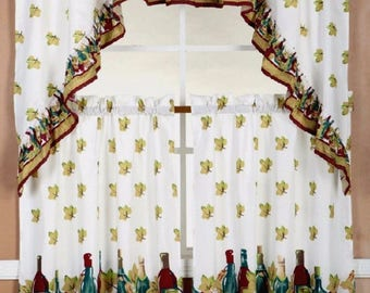 3-piece Wine Bottles Kitchen Window Curtain Set White Drapes Cafe Tier & Swag