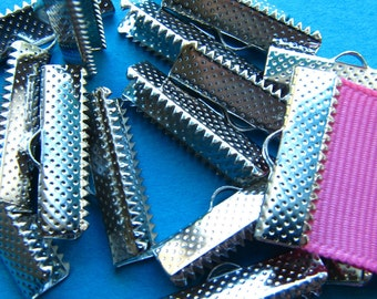 16 pieces 22mm or 7/8 inch Silver Ribbon Clamp End Crimps
