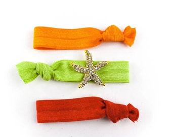 Gold Starfish Hair Tie Set - 3 Rhinestone and Elastic Hair Ties that Double as Bracelets