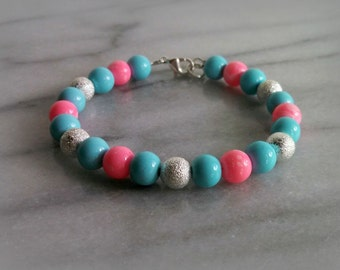 Pink and Blue Beaded Bracelet, Boy Girl Baby Shower, Gift for Her, By ktnunna
