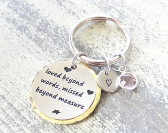 Keychain, Memorial keychain with Bronze or Stainless steel round