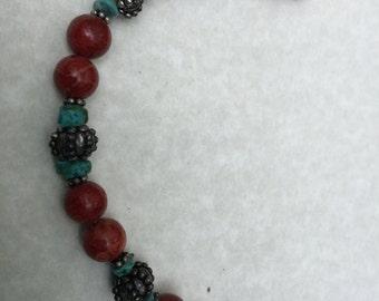 Coral, turquoise and tibetan silver bracelet Artisan Handmade