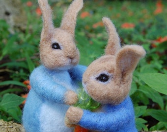 Felted Peter Rabbit and Mother Rabbit. Needle Felted Beatrix Potter Characters From the Tales of Peter Rabbit. Needle Felted Peter Rabbit