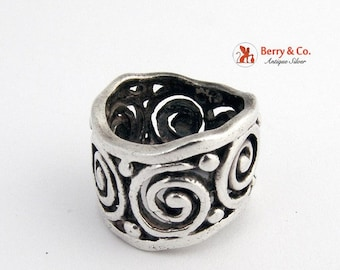 SaLe! sALe! Wide Ring Band Scroll Designs Sterling Silver