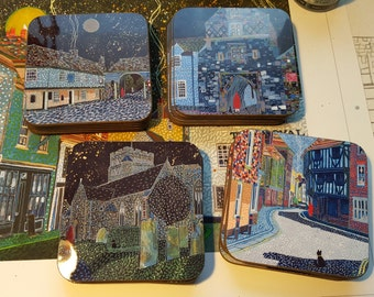 Set of 6 Coasters based on Sandwich (Kent) paintings by Richard Friend
