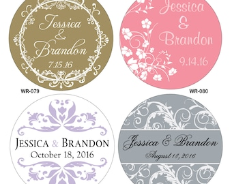 240 - 1.25 inch Personalized Glossy Wedding Stickers Labels - hundreds of designs to choose from - change designs to any color or wording