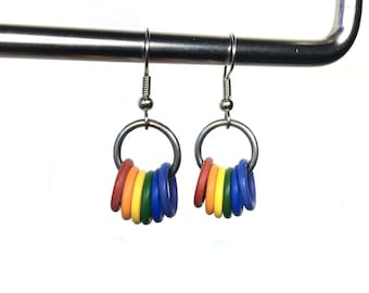 Rainbow Earrings, Rubber