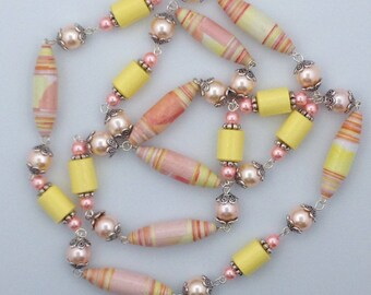Paper Bead Necklace, Opera Necklace, Peach and Yellow Beaded Necklace