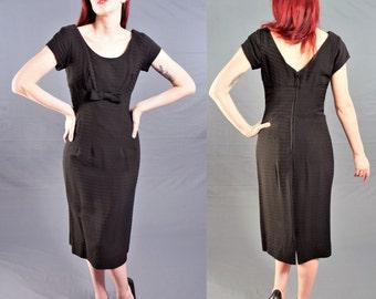 Vintage 1950's Little Black Dress / ROCKABILLY Wiggle Dress with SHELF BUST / size 4