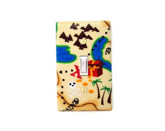 Treasure Island Light Switch Cover - Pirate Switch Plate - Boys Pirate Bedroom