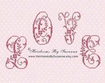 Large Floral Script Monogram Set, Machine Cross Stitch Initial, Floral Font, Decorative Script Font, Floral Garland Monogram - 26 Initials