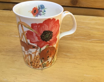 Roy Kirkman Mug- Country Life- An Exclusive Design- Field Mice and Poppies- 1991