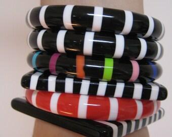 Striped bangles - not bakelite - five sold separately  Multicolor Stripes bangle sold