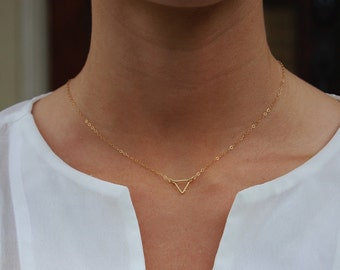 14k Gold Filled, Triangle Necklace, Dainty Necklace, Tiny Triangle, Tiny Triangle Necklace, Gold Filled Chain, Gold Filled Necklace, Faith