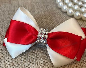 Red and ivory bow, ivory and red bow, baby girls bows, red hair accessory toddler girls bow